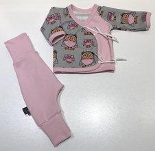 Omlott-tröja Ugglor rosa/grå + Byxa, 44/46
