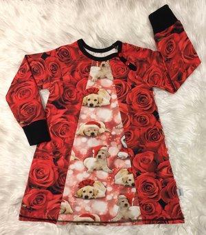 Klänning Julhundar & Röda rosor, stl 104