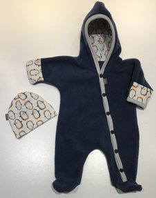 Fleece-overall Jeansblå med Pingviner, stl 44