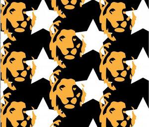 Svart jersey med gula lejon och vita stjärnor - EKOLOGISKT