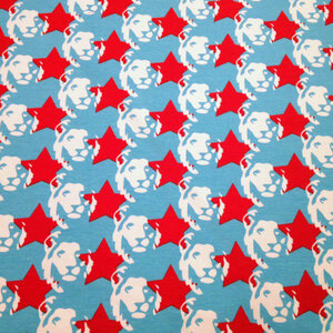 Ljusblå jersey med vita lejon och röda stjärnor - EKOLOGISKT