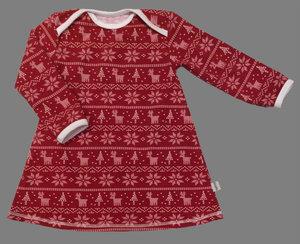 Klänning Julränder röd, stl 86