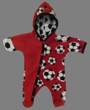 Fleece-overall Fotboll röd, stl 44