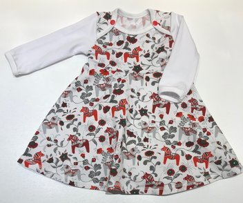 BODY-KLÄNNING LEKSAND mini röd/grå, 68