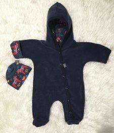 Fleece-overall mörk jeansblå Dalahästar, stl 44