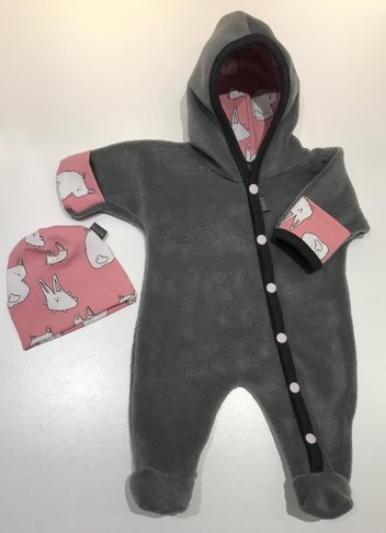 FLEECE-OVERALL GRÅ Rabbits by Signe, prematur