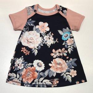 Klänning Blommor marinblå, 74