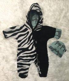 Fleece-overall Zebra + mössa, stl 44