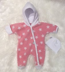 Fleece-overall rosa stjärnor, stl 44