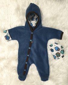 Fleece-overall Jeansblå + mössa, stl 44