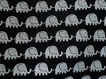 Svart bomullstyg med vita elefanter